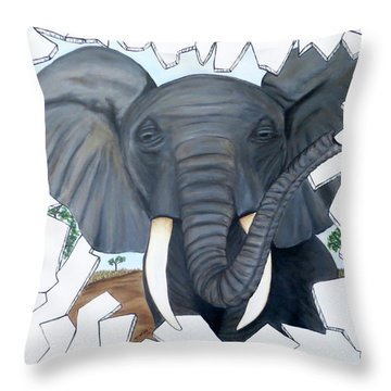 Throw Pillow featuring the painting Eavesdropping Elephant by Teresa Wing