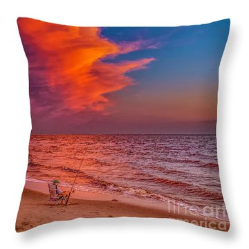 Throw Pillow featuring the photograph Evening Fishing On The Beach by Nick Zelinsky