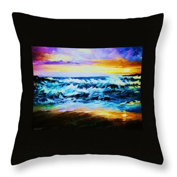 Throw Pillow featuring the painting Ebb Tide At Sunset by Al Brown