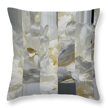 Ebony And Ivory Peony - Floral Abstract Throw Pillow
