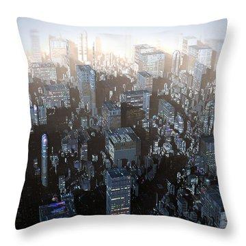 Ebony City Throw Pillow