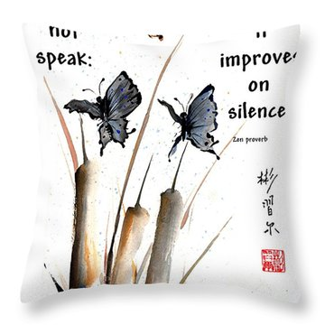 Echo Of Silence With Zen Proverb Throw Pillow