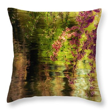 Echoes Of Monet - Cherry Blossoms Over A Pond - Brooklyn Botanic Garden Throw Pillow