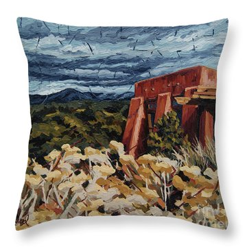 Throw Pillow featuring the painting Echoes Of Tularosa, Museum Hill, Santa Fe, Nm by Erin Fickert-Rowland