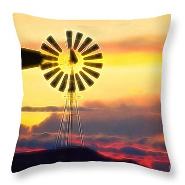 Eclipse Windmill In The Sunset Clouds Throw Pillow by Wernher Krutein