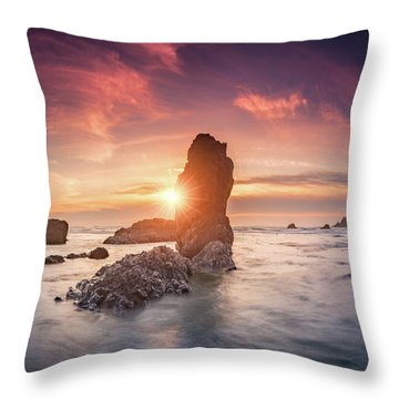 Throw Pillow featuring the photograph Ecola State Park Beach Sunset Pano by William Lee