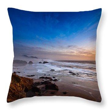 Ecola State Park At Sunset Throw Pillow by Ian Good