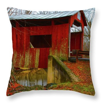Ecther Covered Bridge Near Catawissa, Pa Throw Pillow