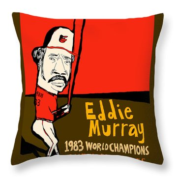 Eddie Murray Baltimore Orioles Throw Pillow by Jay Perkins