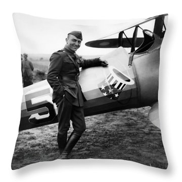 Eddie Rickenbacker - Ww1 American Air Ace Throw Pillow