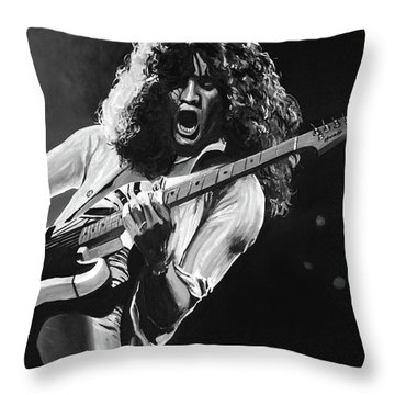 Eddie Van Halen - Black And White Throw Pillow by Tom Carlton