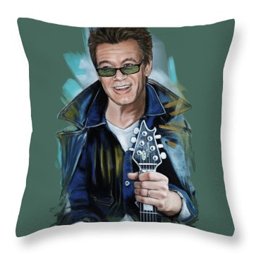 Eddie Van Halen Throw Pillow by Melanie D
