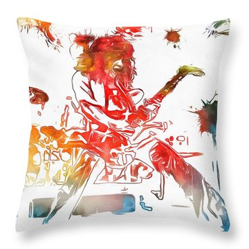 Eddie Van Halen Paint Splatter Throw Pillow by Dan Sproul