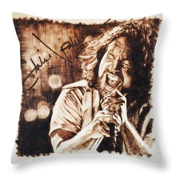 Throw Pillow featuring the pyrography Eddie Vedder by Lance Gebhardt
