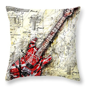 Eddie's Guitar 3 Throw Pillow by Gary Bodnar