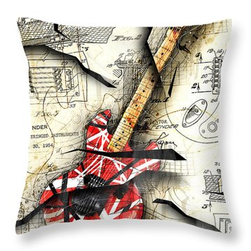 Eddie's Guitar Throw Pillow by Gary Bodnar