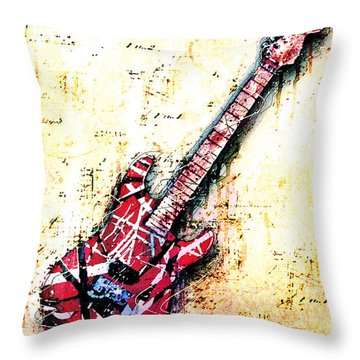 Eddie's Guitar Variation 07 Throw Pillow by Gary Bodnar