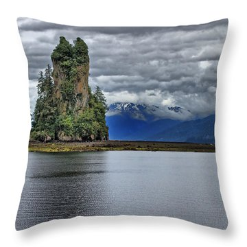 Eddystone Rock In Misty Fjords National Monument Throw Pillow by Farol Tomson