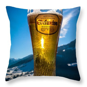 Edelweiss Beer In Kirchberg Austria Throw Pillow