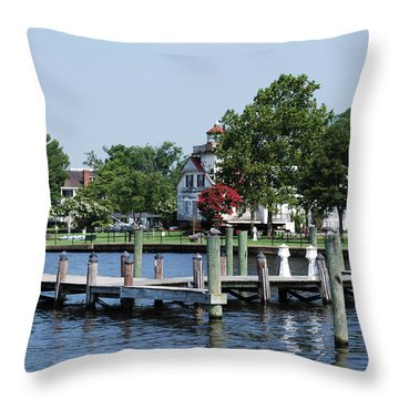 Edenton Waterfront Throw Pillow by Gordon Mooneyhan