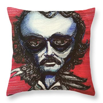 Throw Pillow featuring the painting Edgar Alien Poe by Similar Alien