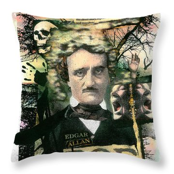 Throw Pillow featuring the painting Edgar Allan Poe by John Dyess