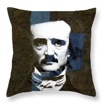 Throw Pillow featuring the mixed media Edgar Allan Poe  by Paul Lovering
