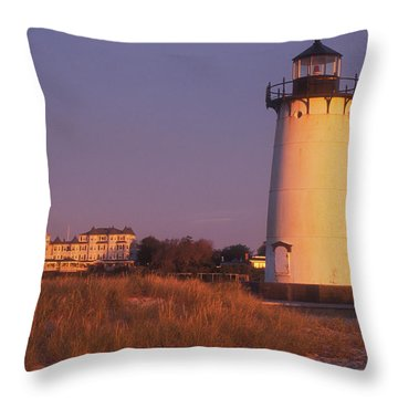 Edgartown Lighthouse And Mansion Throw Pillow by John Burk