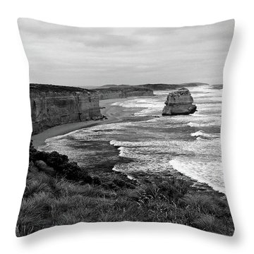 Edge Of A Continent Bw Throw Pillow