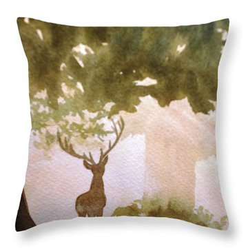 Edge Of The Forrest Throw Pillow by Marilyn Jacobson