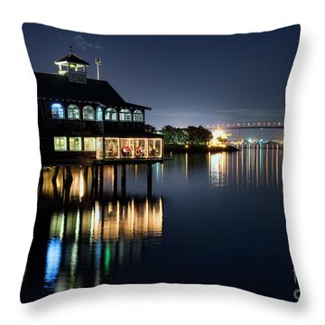 Throw Pillow featuring the photograph Edgewater Grill by Eddie Yerkish
