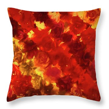 Edgy Flowers Through Glass Throw Pillow