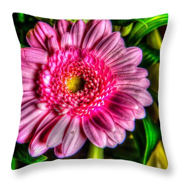Throw Pillow featuring the photograph Edgy Pink Daisy by Dennis Dame
