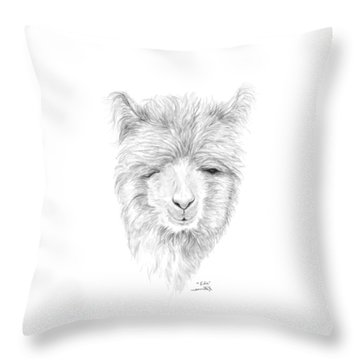 Throw Pillow featuring the drawing Edie by K Llamas
