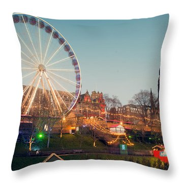 Edinburgh And The Big Wheel Throw Pillow by Ray Devlin