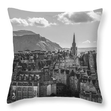 Edinburgh - Arthur's Seat Throw Pillow by Amy Fearn