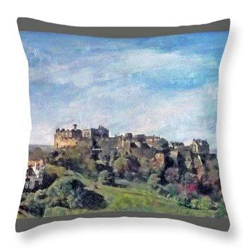 Edinburgh Castle Bright Throw Pillow