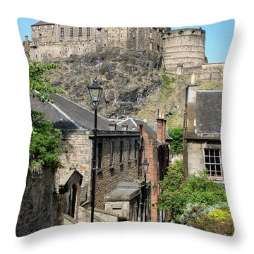 Throw Pillow featuring the photograph Edinburgh Castle From The Vennel by Jeremy Lavender Photography