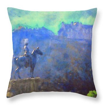 Edinburgh Castle Horse Statue Throw Pillow