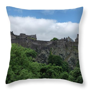 Throw Pillow featuring the photograph Edinburgh Castle In Scotland by Jeremy Lavender Photography