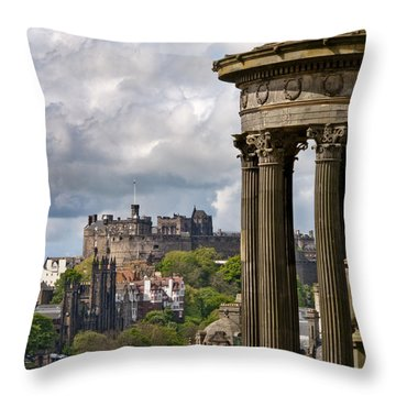 Edinburgh Castle Throw Pillow by Marion Galt