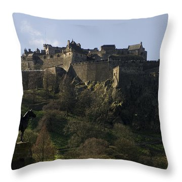 Edinburgh Castle Throw Pillow by Mike Lester