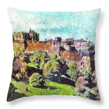 Edinburgh Castle Skyline No 2 Throw Pillow