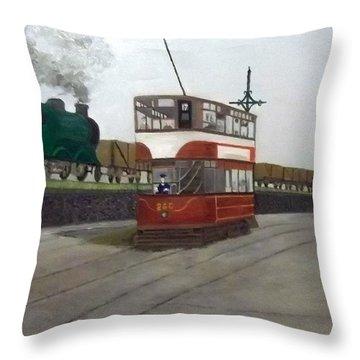 Edinburgh Tram With Goods Train Throw Pillow