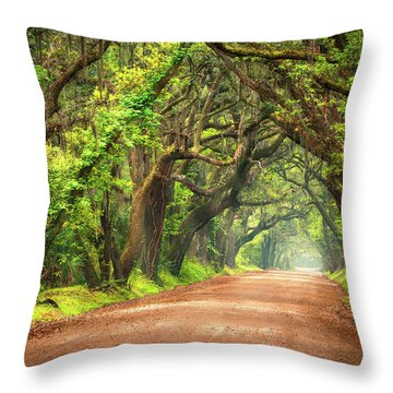 Edisto Island South Carolina Dirt Road Landscape Charleston Sc Throw Pillow
