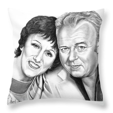 Edith And Archie Bunker Throw Pillow by Murphy Elliott