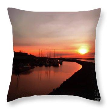 Edmonds Washington Boat Marina At Sunset Throw Pillow