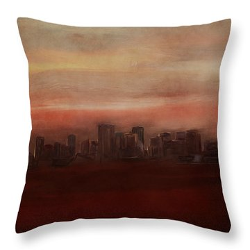 Edmonton At Sunset Throw Pillow