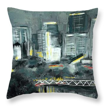 Throw Pillow featuring the mixed media Edmonton Cityscape Painting by Eduardo Tavares