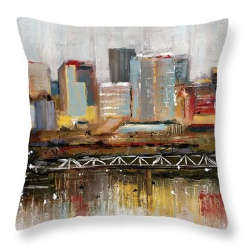 Throw Pillow featuring the mixed media Edmonton Skyline Abstract1 by Eduardo Tavares